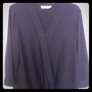 Navy Wrap Front Blouse